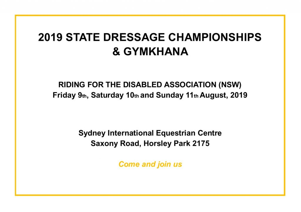 RDA (NSW) Friday 9th, Saturday 10th and Sunday 11th August 2019. Sydney International Equestrian Centre, Saxony Road Horsley Park.